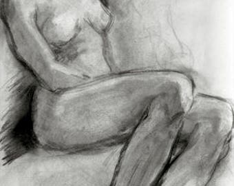 original art, charcoal sketch, Seated Female Figure XIII, drawing, woman, life drawing