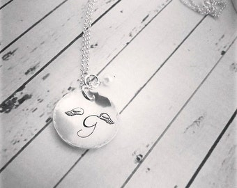 Baby Loss Jewelry - Angel Wing Jewelry - Hand Stamped Jewelry - Baby Memorial Necklace - Angel Baby - Baby Loss - Sleep with God Sweet Child