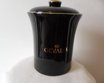 Gevalia Coffee Canister~Black w/Gold trim~Air Tight~Jar