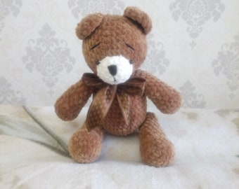 Crochet bear, classic teddy bear, knitting bear, knitted bear, brown bear, soft bear, stuffed animal, amigurumi bear, gift, bear gift