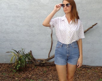 Vintage Floral Dotted Blouse / White & Pastel / 1970's / Medium