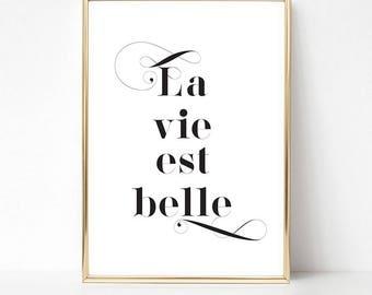 Quote Wall Art, La Vie Est Belle Quote Poster, PRINTABLE Art, Motivational Poster, Motivational Quotes, Inspirational Print