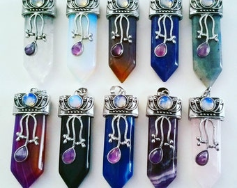 Detailed Crystal Sword Necklace Variety