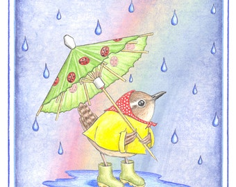 Rainy Day Wren  illustrated note card