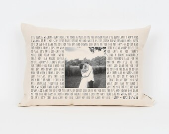 Personalized Song Lyric Gift, 2nd Anniversary Cotton Gift, Photo Pillow, Wedding Gift Husband, Mother's Day Gift, Anniversary Gift