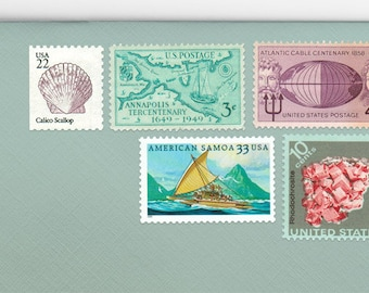 Posts (5) 2 oz wedding invitations - Boho Beach unused vintage postage stamp sets (2 ounce 71 cent rate)