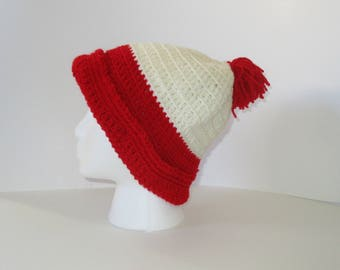 Red Pom Pom Hat, Outdoor Explorer White and Red Crochet Slouchy Beanie Hat Large Women's Pompom Beanie Crochet Winter Hat, Red Knit Hat