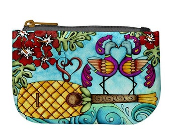 Pineapple Ukulele and Hibiscus Printed Fabric Zipper Bag Fully Lined Art Coin Purse