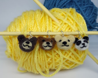 Bears and Pandas! Needle felted stitch markers- charms (set of 2)