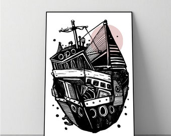 Floatboat Digital Art Print on paper + digital print with flying ship