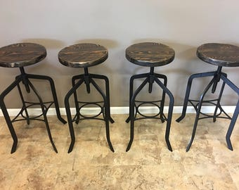 Set of 4 |  Reclaimed Wood Counter/Bar Height Stool with Swivel Seat | Industrial Urban Bar Stool