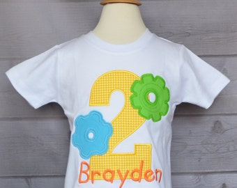 Personalized Birthday Number Tick Tock Clock Gears Applique Shirt or Bodysuit Girl or Boy