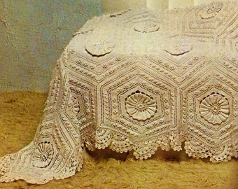 Victorian Hexagons Heirloom Bedspread Vintage Crochet Pattern Download