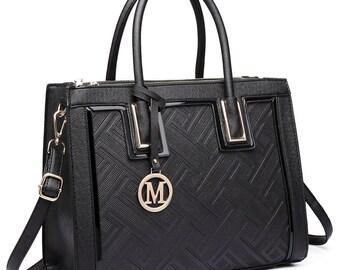 Fashion Designer PU Leather Handbag Tote Shoulder Large Women Bag Black