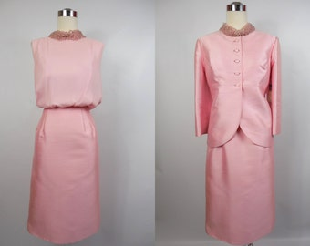 1960's Vintage Pink Silk and Chiffon Beaded Dress with Jacket