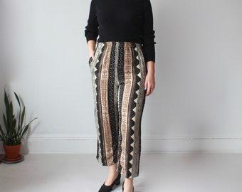 plus size vintage tribal pants | 90s elastic waist pants, size 12
