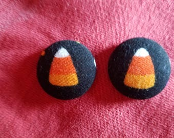 Candy Corn Fabric Button Earrings  7/8 inch diameter - Surgical Steel Hypo-Allergenic Stud  or Wire Halloween Earrings