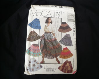 Vintage skirt sewing pattern, McCalls 6840, simple pull on elasticated waist 4 tiered skirt, size Y (XS, S, M)