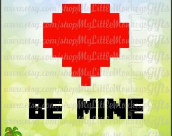 Be Mine Block Heart Valentine's Day Digital Clip Art & Cut File High Quality 300 dpi Jpeg Png SVG EPS DXF Formats Instant Download
