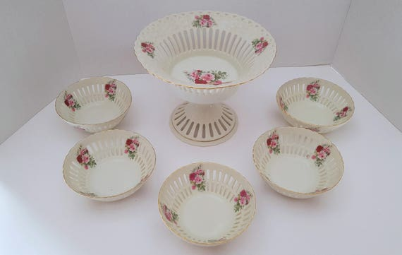 Formalities by Baum Brothers Rose Pierced China Bowl 6 Piece