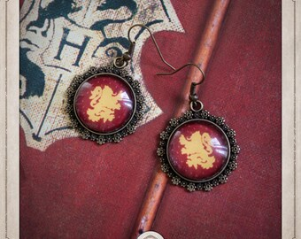 GRYFFINDOR Harry Potter House earrings bronze cabochon and glass BOCB037
