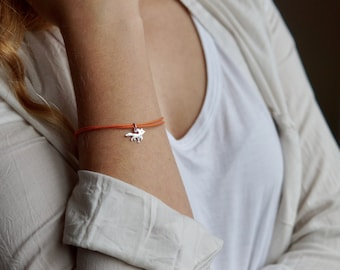"Cute Fox Sterling silver Cotton cord Bracelet from the ""Petite Ménagerie"" collection by Camille Grenon - Simple Tiny Gift Forest Animal"