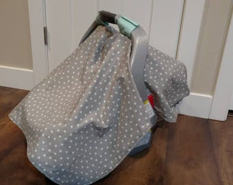 Gray/Aqua infant car seat cover