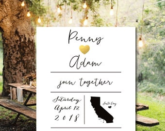 Printable Save the date cards, gold foil save the date cards, state wedding, PRINT YOUR OWN save the date
