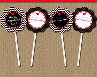Valentines Day Cupcake Toppers, Valentine Cupcake Picks, Editable DIY Valentine Decor, Printable Valentine Tags, Valentine Party Decor V1