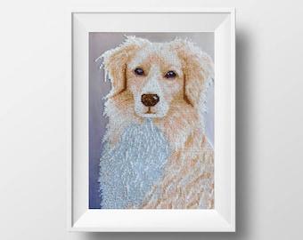 diy embroidery kit needlepoint labrador embroidery craft kit needlework kit dog pattern modern embroidery pet dog lover embroidery bucilla