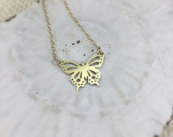 Butterfly Necklace-Layering Necklace-Gold Butterfly Necklace-Butterfly Charm Necklace