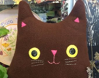 Cat Cushion: Handmade from recycled felt (Mr Roland Whiskers)