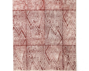 Flame Co Block Printed Wall Textile in Red