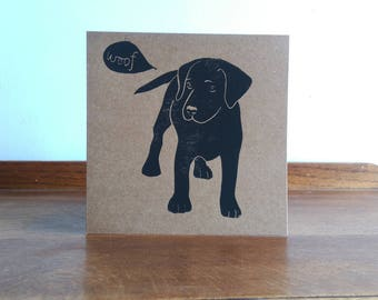 Pup, Black Labrador, Original Hand Printed Card, Linocut Card, Blank Greeting Card, Brown Kraft Card, Free Postage in UK,