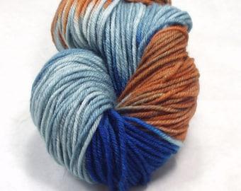 Merino  Superwash Wool Yarn Worsted Weight  / Hand Dyed Wool Yarn / Blue Denim  Royal Blue Rust  Brown / Variegated Wool