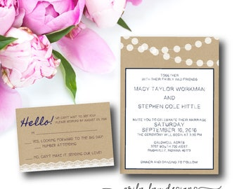 Lights and Kraft Country Wedding Invitations Set, Rustic Wedding Invitation, Kraft, Lace, Navy, Outside, Southern - Digital File