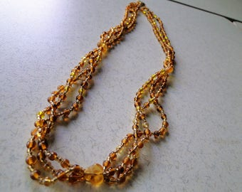 Beaded Necklace in Brown & Gold