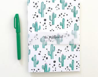 Succulent Cactus: A5 and A6 Size Sketchbook and Notebook, Handmade Sketchbook, Journal, Gifts For Stationery Addicts, Blank Lined Notebook