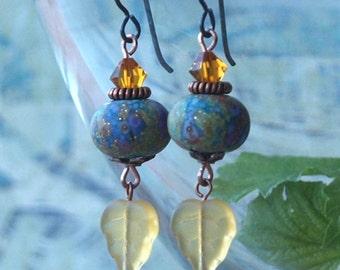 Monet earrings, glass Monet earrings, art Monet earrings, handmade Monet earrings, MONET'S GARDEN, hypoallergenic niobium earwires