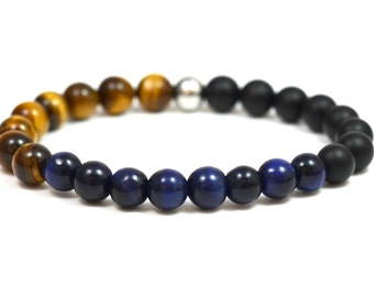 Spiritual KOMIMAR gemstone bracelet, mens bracelet, surfer jewelry, Valentine's day gift idea, pearl bracelet