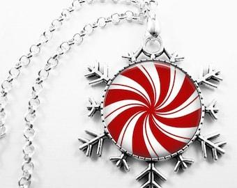 Christmas Necklace Christmas Jewelry Glass Tile Necklace Glass Tile Jewelry Red Jewelry Holiday Necklace Holiday Jewelry Snowflake Jewelry