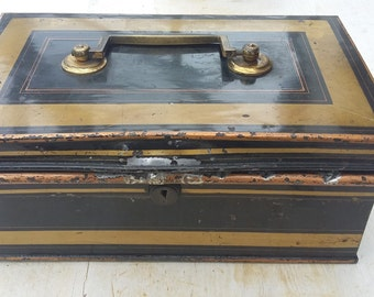 Vintage Metal Strong Box Tole, Black, Red and Gold