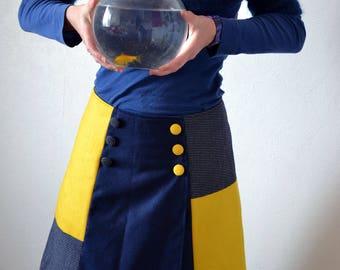 Dark blue and yellow wool wrap skirt