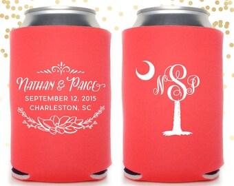 Charleston South Carolina Palmetto Monogram Wedding Can Cooler Beer Cozy