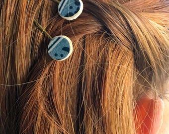 Blue Hair Pin- Hair Pin, Bobby Pin, China Bobby Pin, Blue, Vintage Bobby Pin, Broken China Jewelry, Broken China, Hair Pin, Hair Accessory