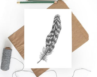 Feather Art | Bird Print | Feather Drawing | Pheasant Feather | Bird Art | Bird Wall Decor | Bird Feathers | Bird Decor | Bird Drawing
