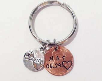 Personalized Penny Keychain, Pinky Promise, Boyfriend Gift, Anniversary Gift for Men, Anniversary Gift for Boyfriend, Husband Gift, Wife