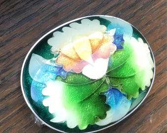 Beautiful colorful enamel and guilloche flower brooch