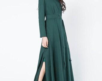 dark green linen dress, green dress, long linen tunic, long sleeves dress, womens dresses, maxi dress, elegant dress, handmade dress C1086