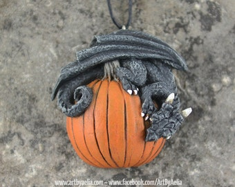 Custom Made Pumpkin Dragon Necklace - In Stock and Ready to Ship